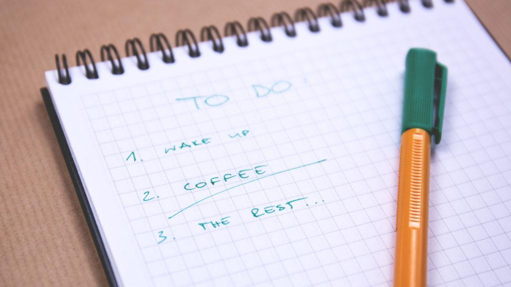 A joking todo-list for the day saying: 1. Wake up, 2. Coffee, 3. The rest.